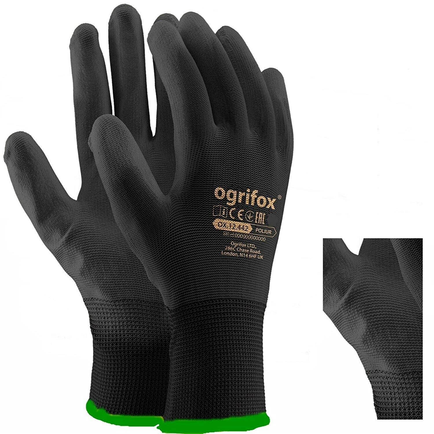 Builders S//7 36 Pairs PU Coated Black Nylon Work Gloves NO FRAME VISITOR SAFETY GLASSES CLEAR LENS Mechanic Gardening LIGHTWEIGHT