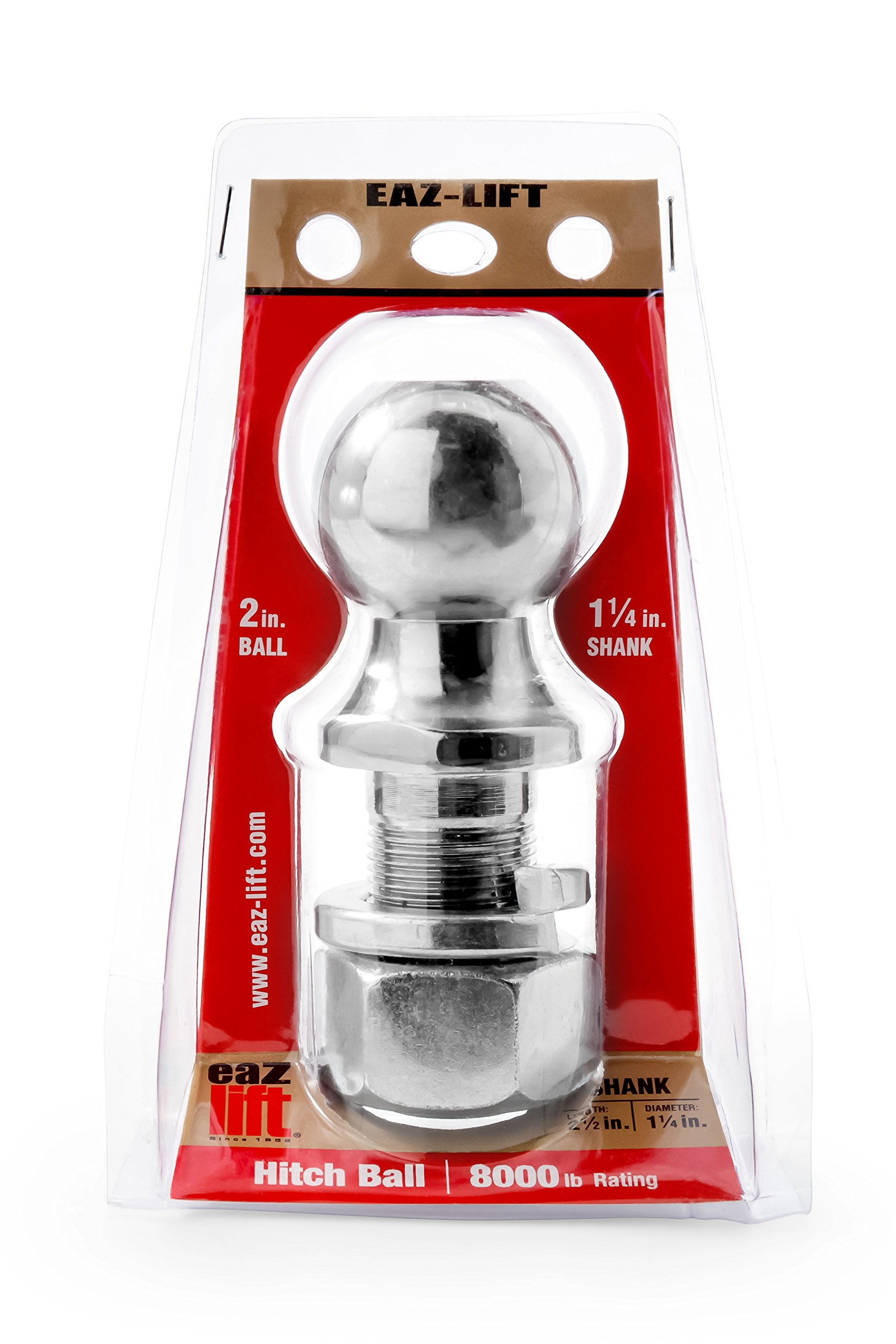 Eaz-Lift 48226 2'' Hitch Ball with 1 1/4'' Shank -Chrome Plated Heavy Duty Steel 8,000 lb Rating
