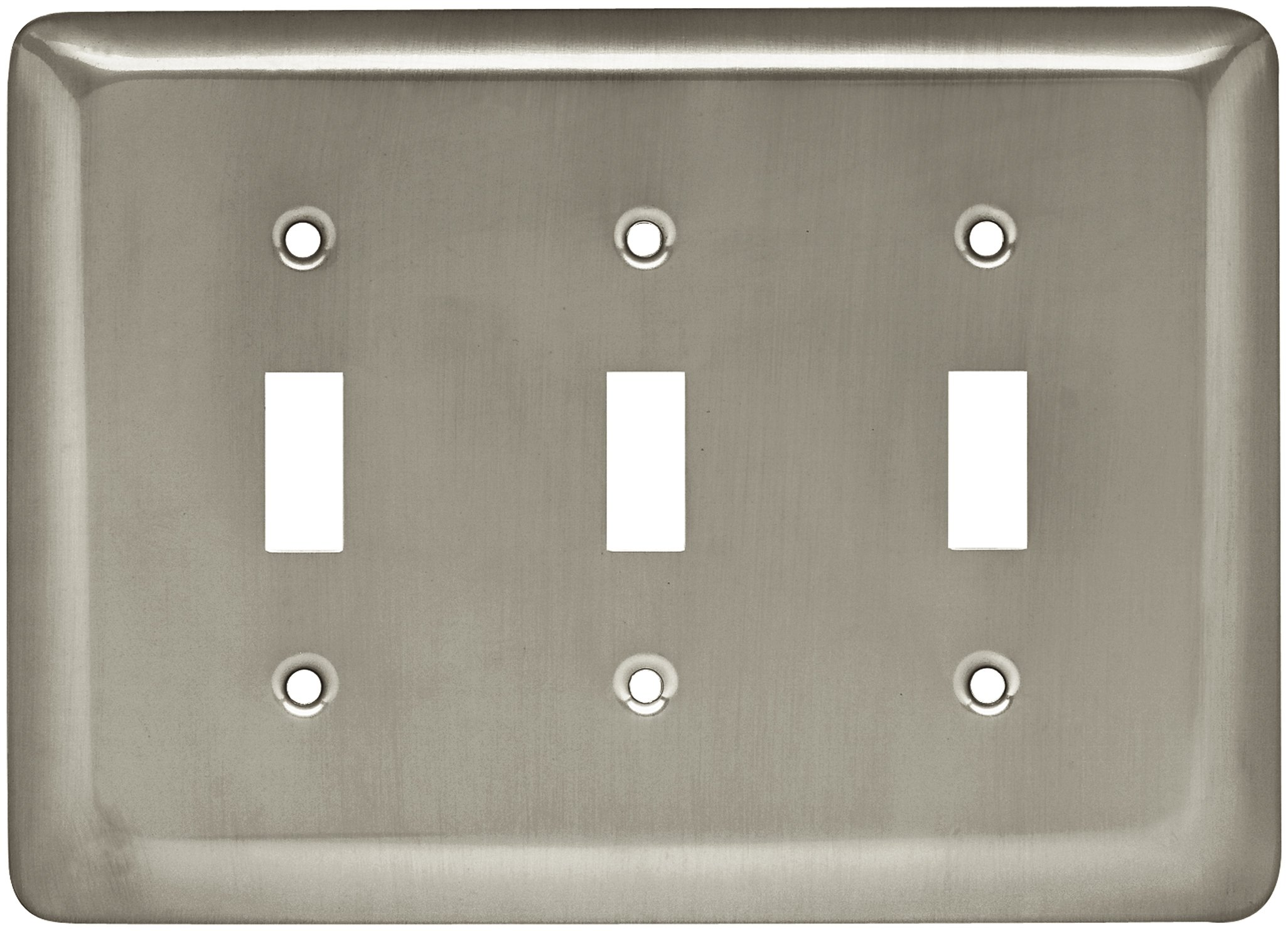 Brainerd 64380 Stamped Steel Round Triple Toggle Switch Wall Plate / Switch Plate / Cover, Satin Nickel