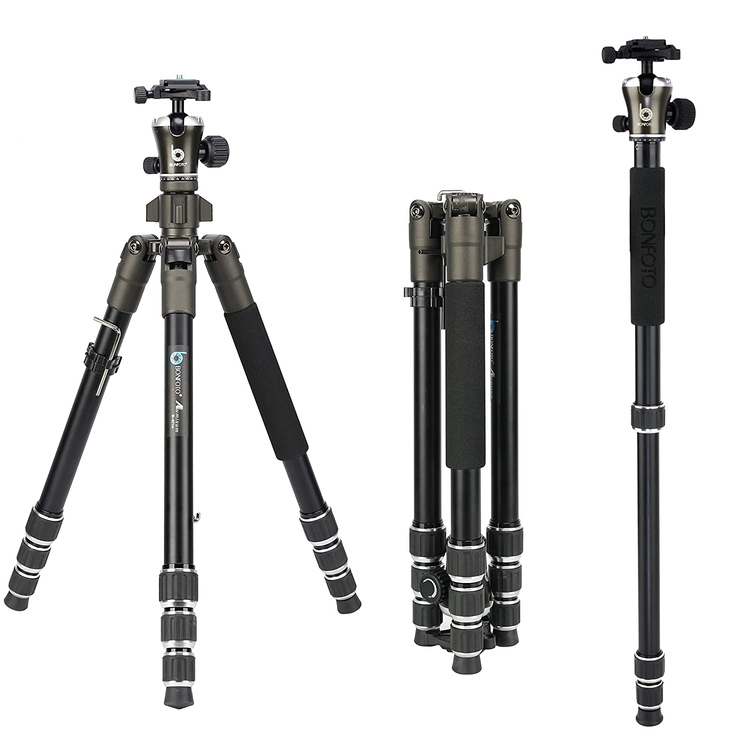 BONFOTO 55 Inch B671A Lightweight Aluminum Alloy Camera Travel Tripod and Monopod with 360 Degree Ball Head + Two 1/4' Quick Release Plates + Carry Bag for Canon Nikon Sony DSLR DV and Digital Camera