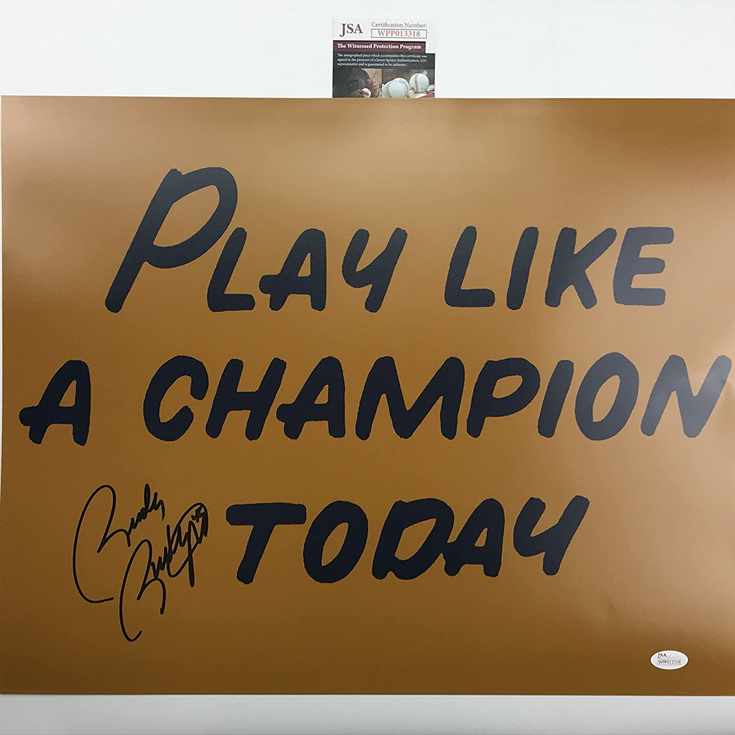 Autographed/Signed Rudy Ruettiger'Play Like A Champion Today' Notre Dame 16x20 Football Photo JSA COA