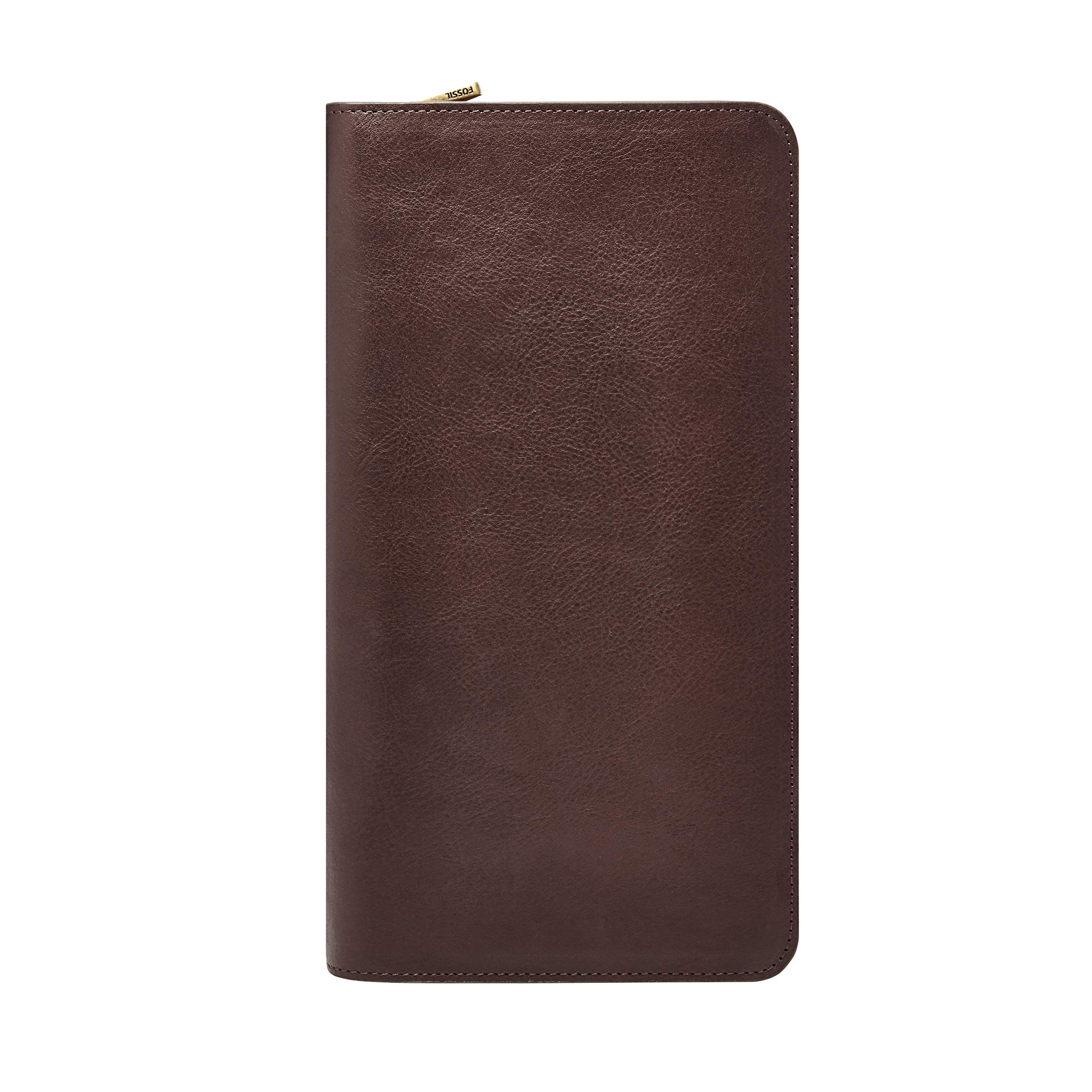 Fossil Leather Passport Case, Multi Zip Passport - Dark Brown by Fossil