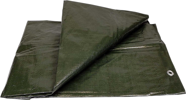 Lona Impermeable Exterior (120g, 6 x 10 m) Reforzada con Ojales de Acero Inoxidable. Para Leña y Objetos de Jardín, Vehículos, Protección contra UV. Color Verde