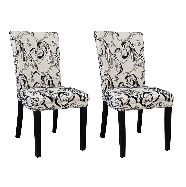 Set of 2 MILAN Mishka Wide Back Parson Side Chair Black /& White