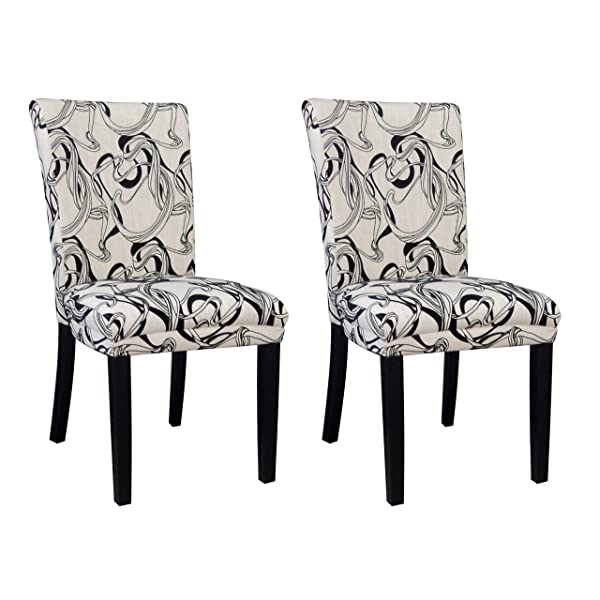 Milan Mishka Wide Back Parson Side Chair, Black & White, Set of 2