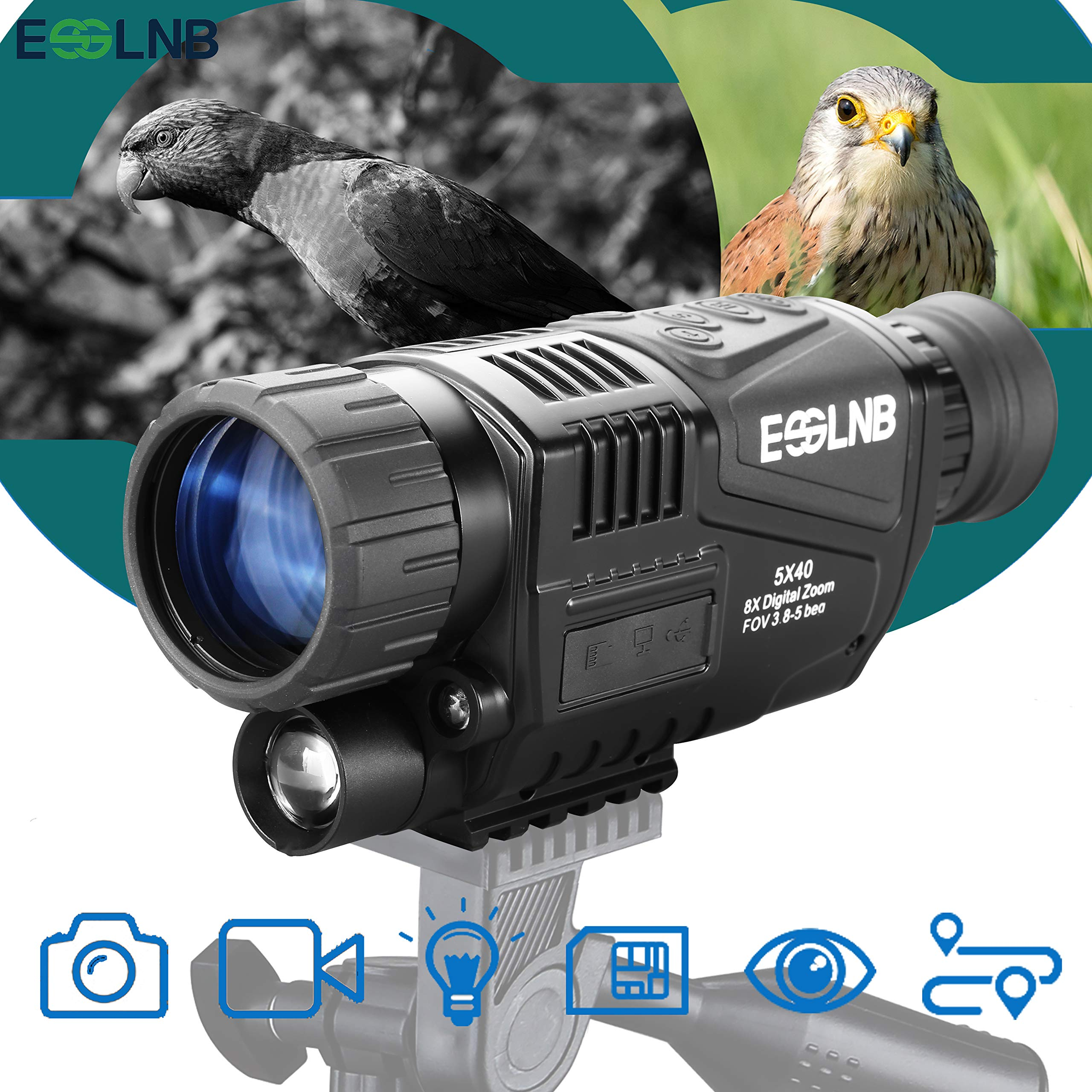 ESSLNB Night Vision Monocular 5X40 Night Vision Infrared Scope HD Digital Vision Scope Take Photos and Video Playback 1.5'' LCD with TF Card for Hunting Security Surveilla by ESSLNB
