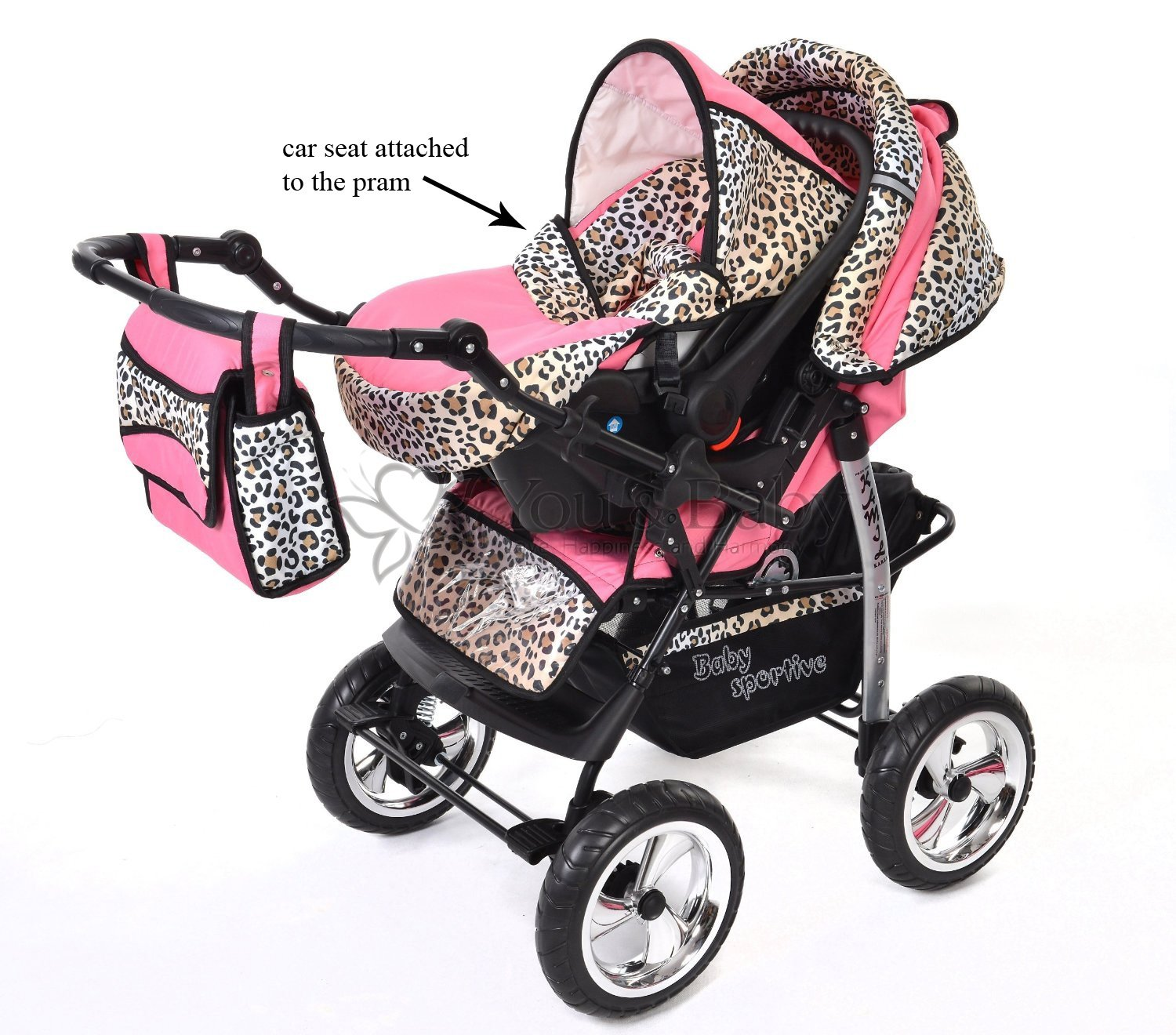 Kamil - Sistema de viaje 3 en 1, silla de paseo, carrito con capazo y silla de coche, RUEDAS ESTÁTICAS y accesorios (Sistema de viaje 3 en 1, rosado y ...
