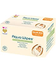 Aqua Wipes Baby Wipes, (Carton of 12 x 64 wipe packs (768 Wipes)), 100% Biodegradable, PLASTIC FREE WIPES, 99.6% Purified Water, Newborn Wipes, Vegan, Paraben Free, Perfume Free, NHS APPROVED