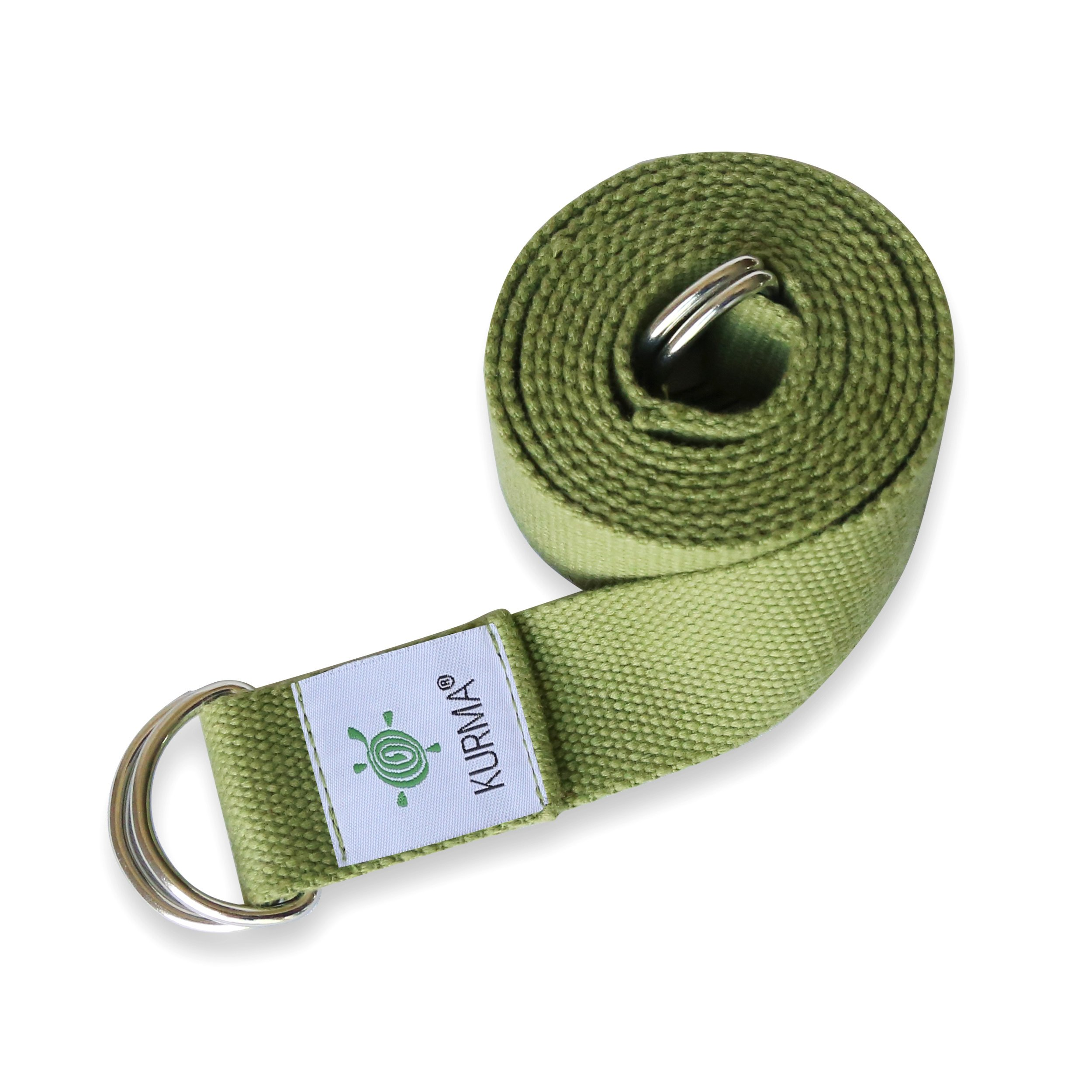 Yoga Belt Strap and Yoga Mat Carrying Sling in one, Cotton, Excellent Grip, Soft, For Stretching and Carrying Yoga Mat by Kurma Yoga