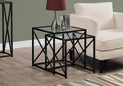 Monarch Specialties I NESTING TABLE, BLACK