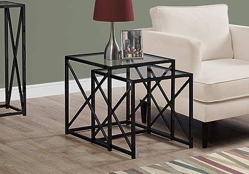 Monarch Specialties I NESTING TABLE, BLACK