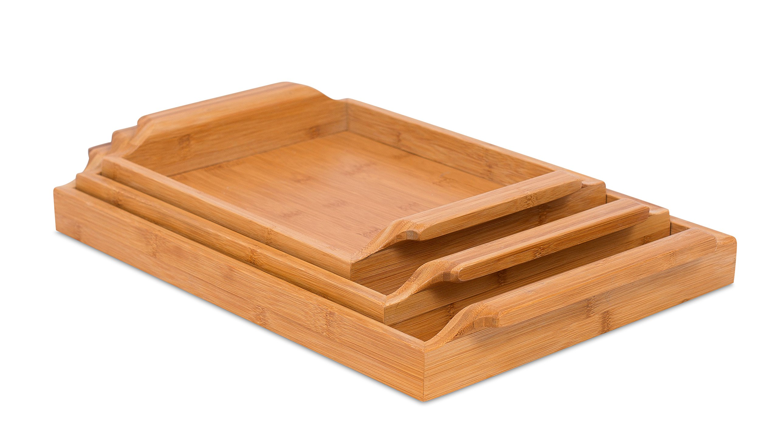 BirdRock Home Bamboo Nesting Breakfast Bed Trays | Set of 3 | Exterior Handles | Serving Tray Wood