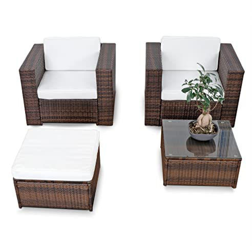 Amazon.de: erweiterbares 10tlg. Balkon Gartenmöbel Set Polyrattan ...