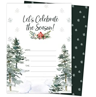 Amazon Com Christmas Invitation Cards 50 Pack Holiday