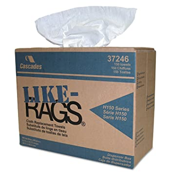 Cascades 37246 Like-Rags Spunlace Towels White 9 3/4 x 16 3/