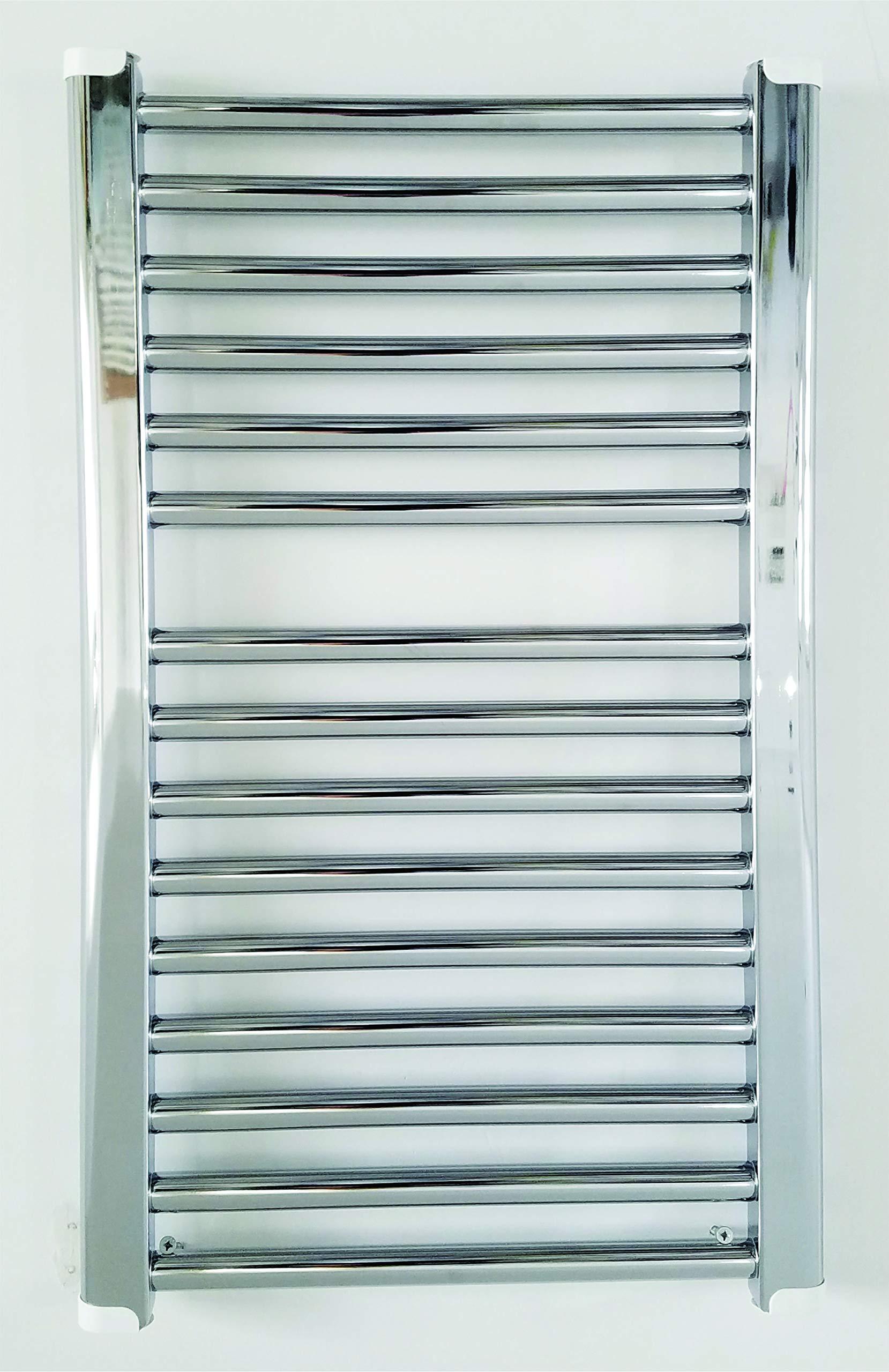 Cordivari Chromed Towel Warmer Hydronic Straight 16x28 in Europe Design Radiant
