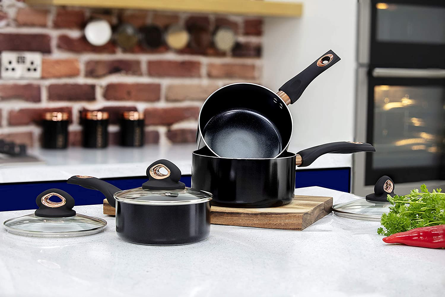 Cerasure Non Stick Coating Tower T800131 3 Piece Saucepan Set 16cm 18cm 20cm With Bakelite Handles Black And Rose Gold Home Kitchen Cooking Dining
