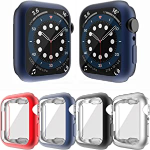 YUVIKE Case Compatible with Apple Watch SE Series 6 5 4 44mm Screen Protector, 4 Packs All Around Cover Flexible TPU Matte Bumper Frame (Red+Navy Blue+Black+Silver, 44mm)