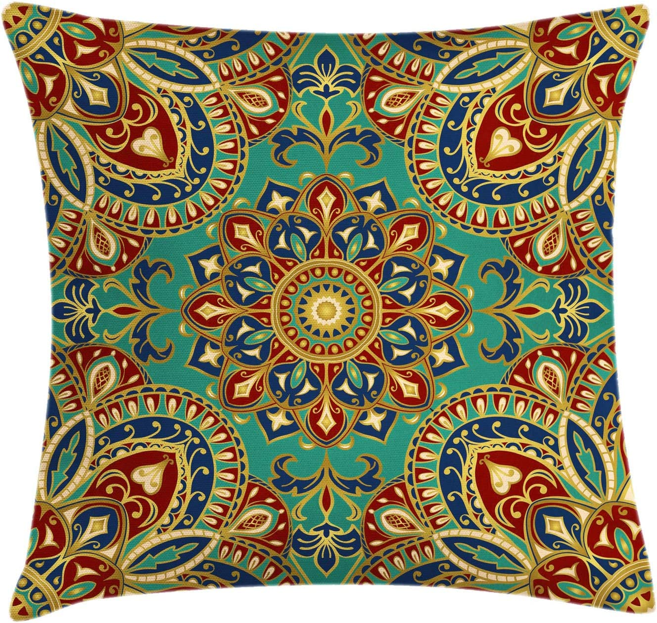 """Ambesonne Mandala Throw Pillow Cushion Cover, Pattern with Mandala Style Eastern Medieval Motifs Oriental Ethnic, Decorative Square Accent Pillow Case, 20"""" X 20"""", Teal Indigo"""