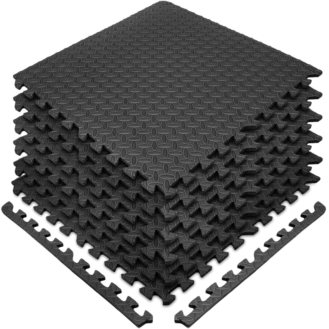 Sivan Health and Fitness Puzzle Exercise Mat EVA Foam Interlocking Tiles (Black)