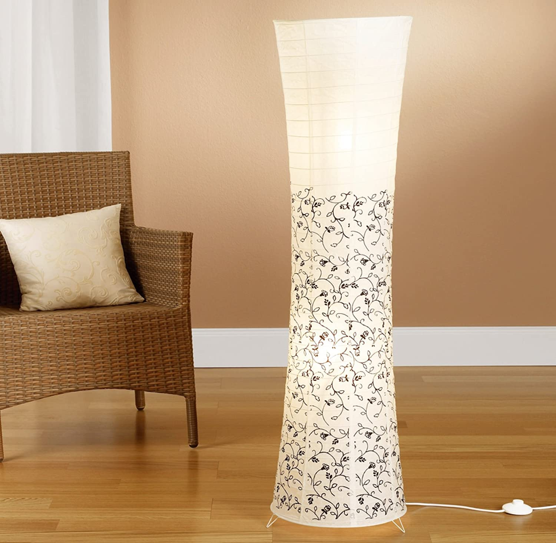 Moderne Design Stehlampe I Reispapier Lampe In Weiss Mit Floralem