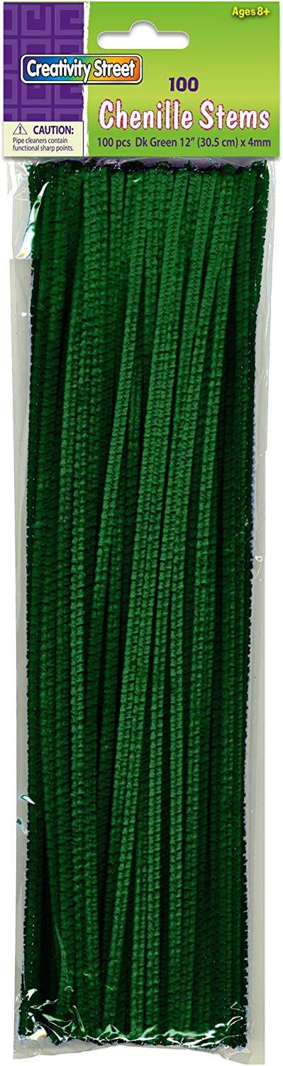 Creativity Street Chenille Stems//Pipe Cleaners 12 Inch x 4mm 100-Piece Green