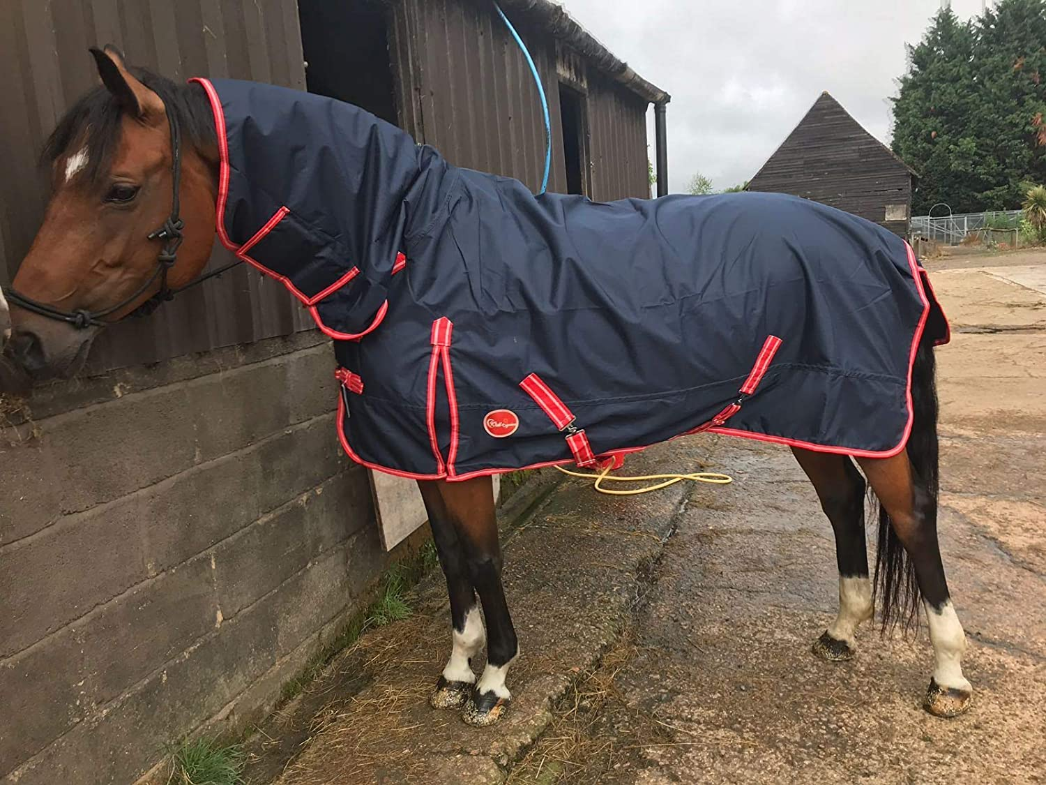 Cwell Equine NAVY Lightweight Full Combo Attached Neck Outdoor Turnout Rug 6 0