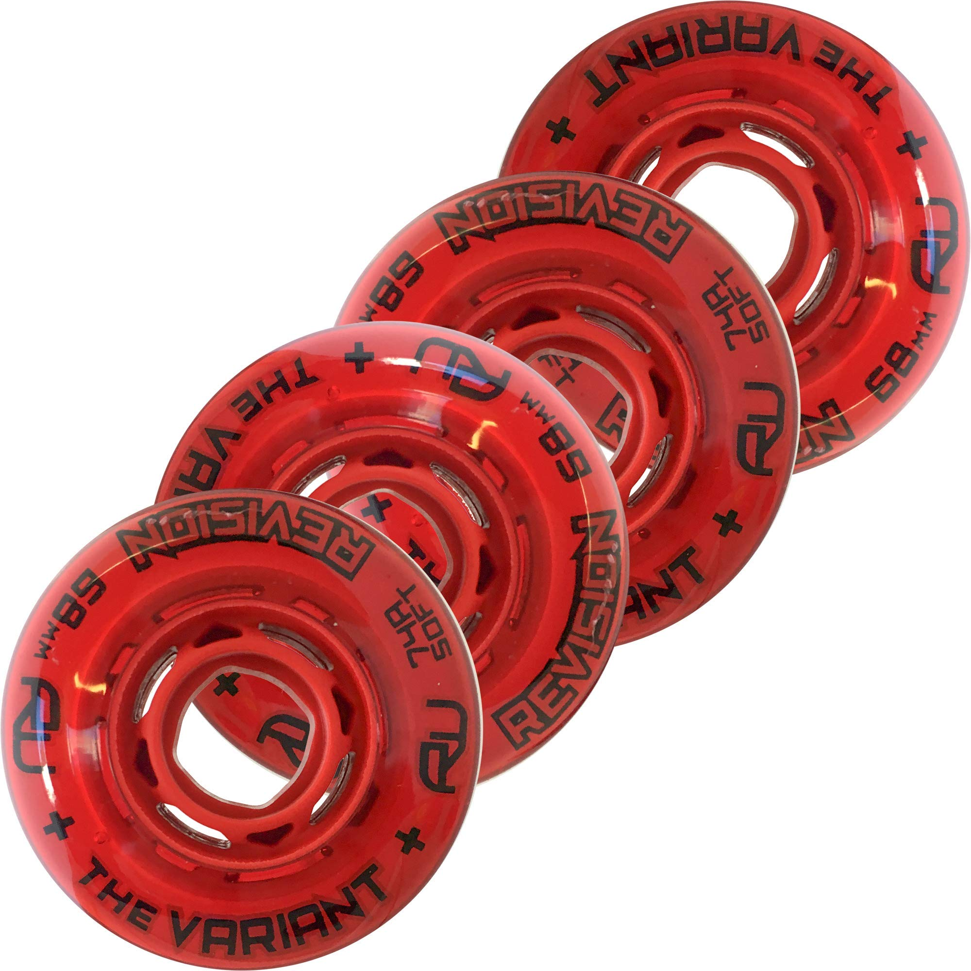 Revision Variant Indoor Inline Roller Hockey Wheel - 74A - 68mm Soft 4 Pack - Red by Revision Hockey