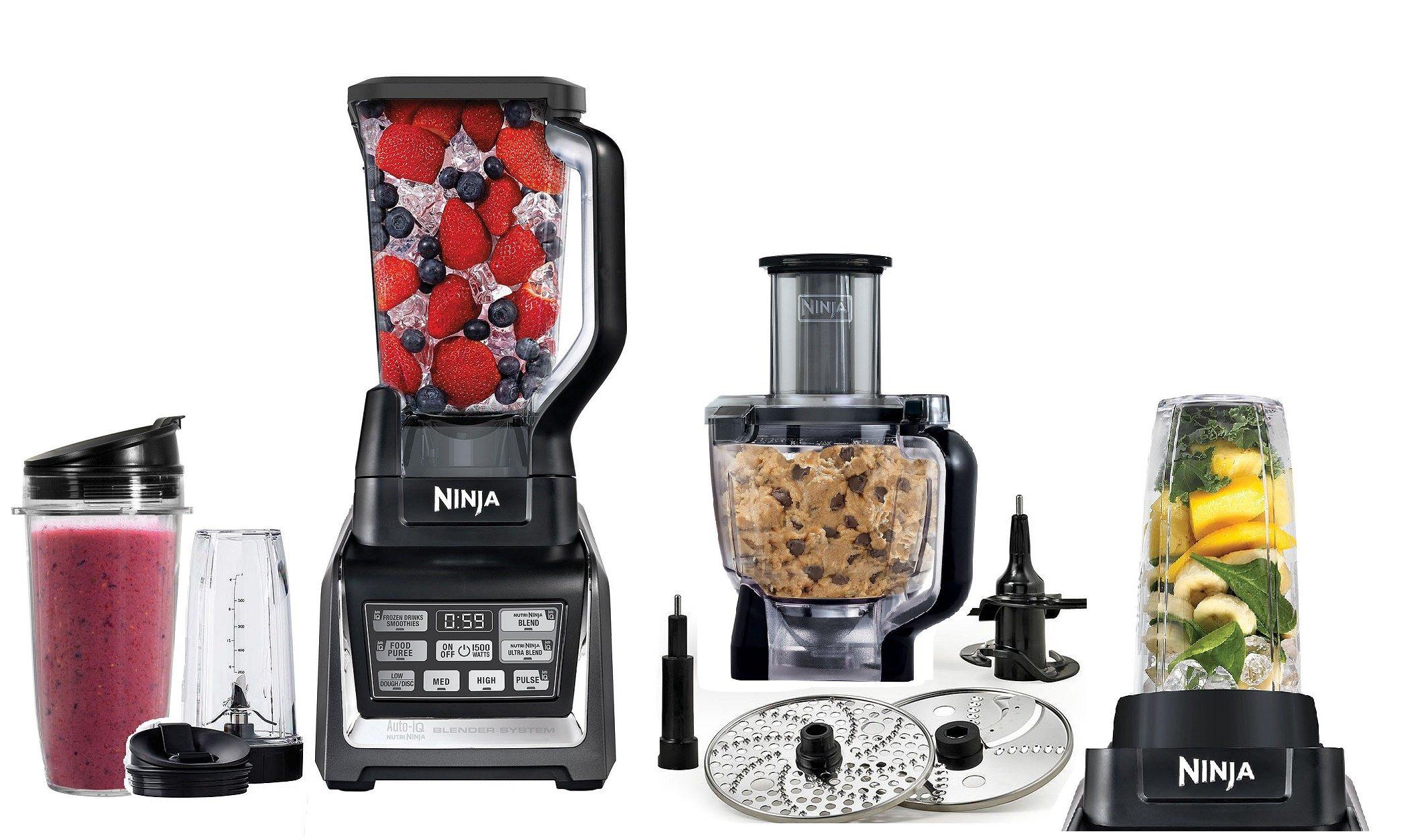 Ninja Mega Kitchen System, 1500 Watts, Blending and Food Processing, 1 Base 2 Functions Auto-iQ Technology…