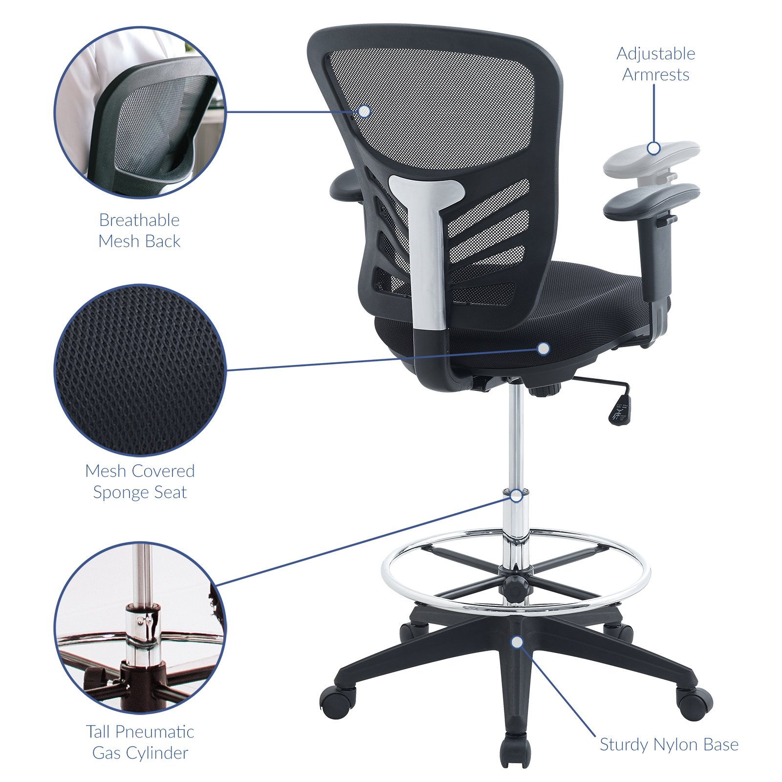 Modway Articulate Drafting Chair In Black   Reception Desk Chair   Tall  Office Chair For Adjustable Standing Desks   Drafting Table Chair    EEI 2289 BLK ...