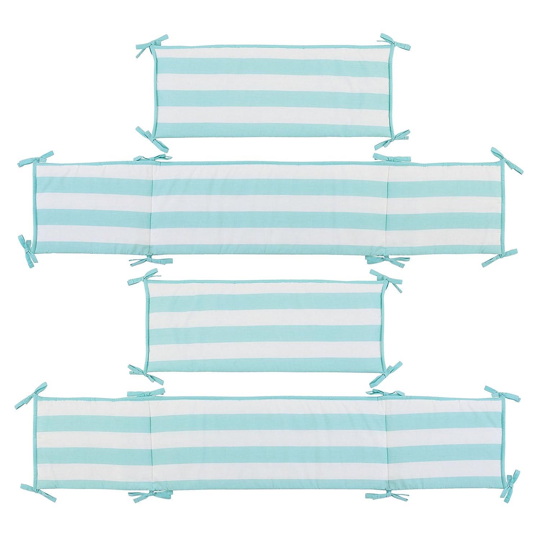 Little Love by NoJo Teal Stripe Print 4 Piece Nursery Crib Bumper Teal//White