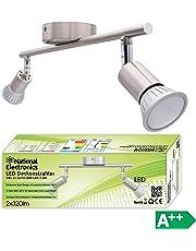 Lampadario Plafoniera a Faretti Led Orientabili GU10 220v da Soffitto - Inclusi 2 Spot a Luce Calda 2700K 3,5W 320Lumen - Max 50w (Watt) per Lampadina