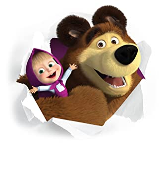 Masha And The Bear Smashed Wall Stickers Wall Art Decals Kids Bedroom Mural Sticker Boys Girls Size55cm X 55 Cm