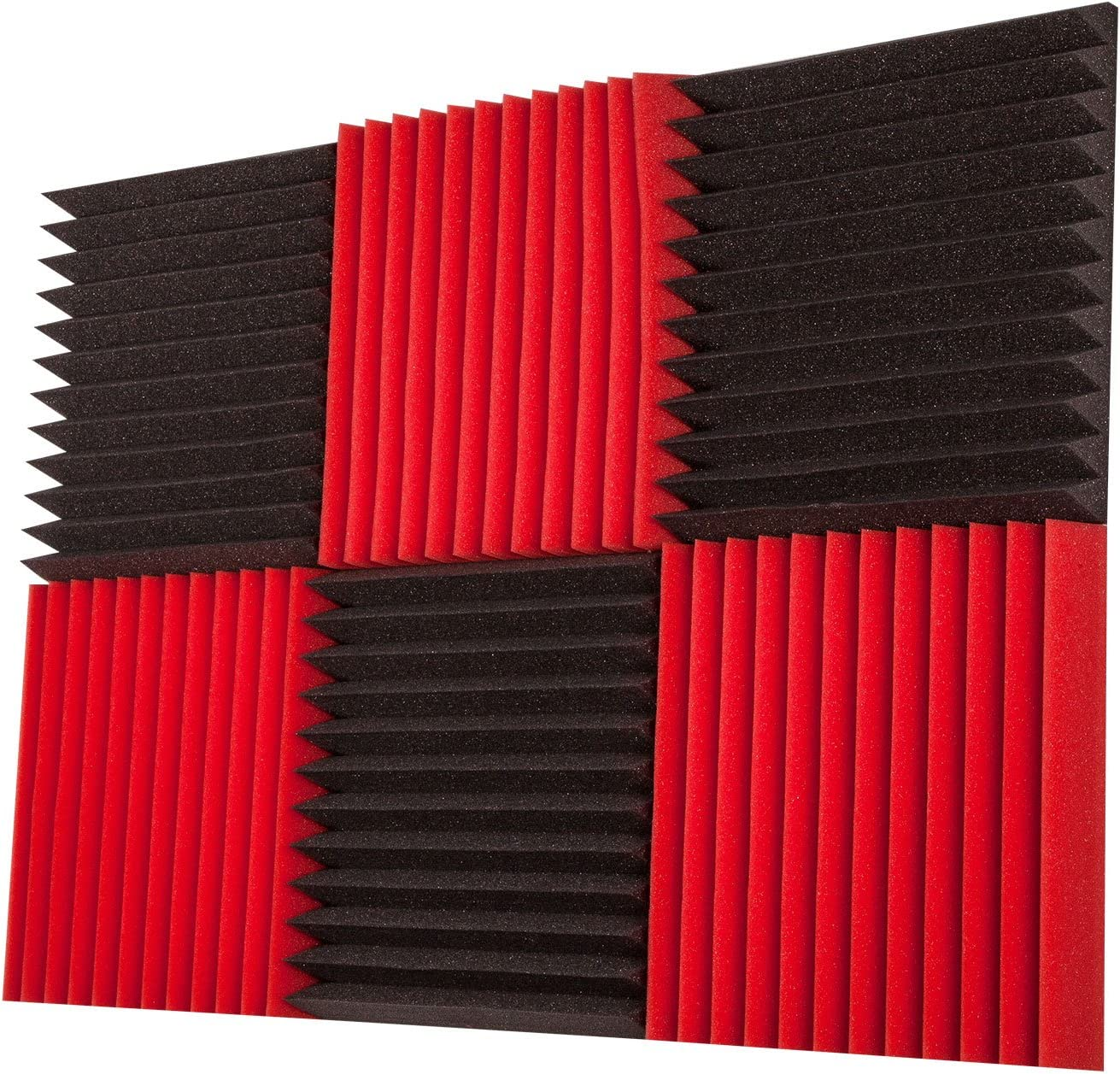 "Foamily 6 Pack- Red/Charcoal Acoustic Panels Studio Foam Wedges 2"" X 12"" X 12"""
