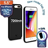 iPhone 6 (s) PLUS/7 PLUS/8 PLUS Backup Battery Charger Protective Case 7200mAh, 230% Extra, Fast-charging Power Bank. Light and Slim + Gift: Glass Screen Protector