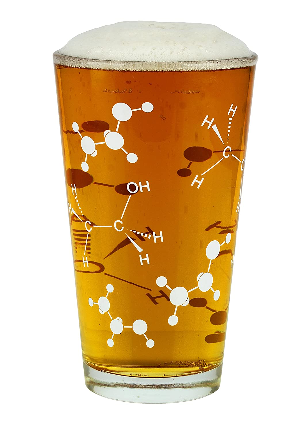 Barbuzzo Chemist Approved Beer Pint Glass, 16 Ounces - Bring Out Your Inner Nerd, Geek or Chemist - Great Gift for Bio & Chem Grads, Nurses, Doctors and all those in the Medical & Research Fields UTU3BR0143
