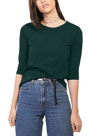 437aba39bfa1 Bewakoof Pine Green Women's Cotton Plain Round Neck 3/4 Sleeve T-Shirts_L