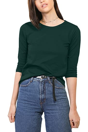 df2aab4a8bf Bewakoof Women s Cotton Plain Round Neck 3 4 Sleeve T-Shirts at Amazon  Women s Clothing store