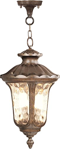 Livex Lighting 7665-50 Oxford 3 Light Outdoor Hanging Lantern, Moroccan Gold