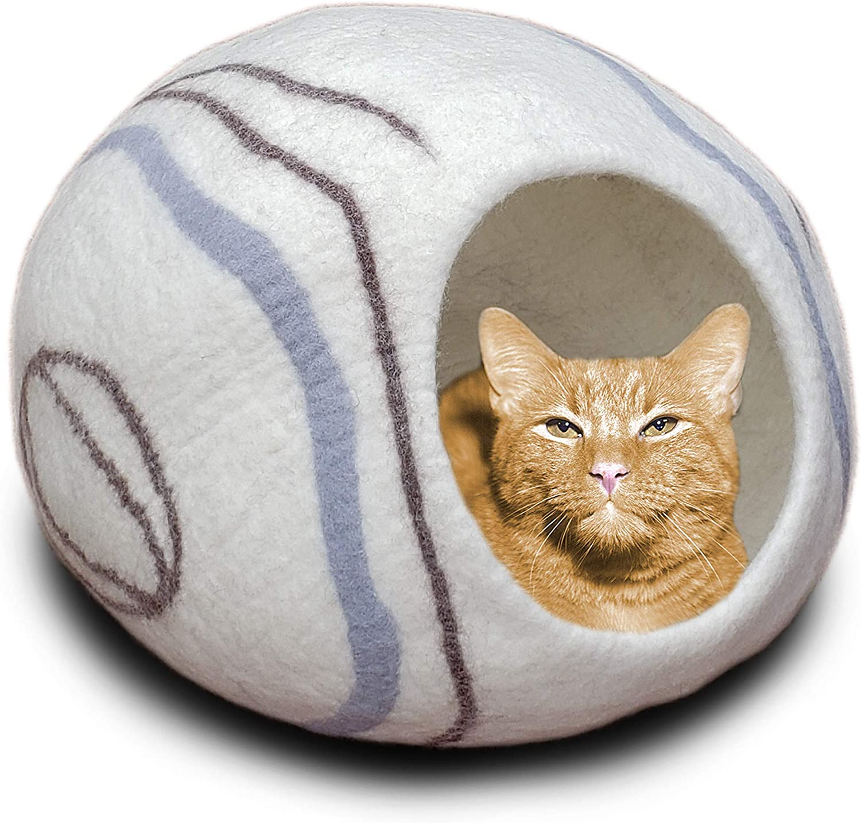 XL Grey aumondo Cuddly Felt Lovingly Handmade For Your Cat Cave Bed