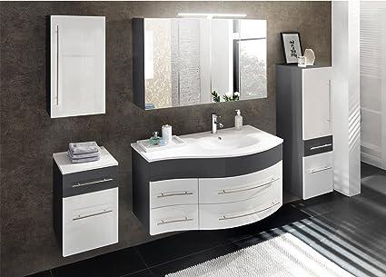 SAM Badmöbel Dali, 5tlg. Badezimmer Set, grau/weiß Hochglanz, Waschplatz  110 cm mit Mineralgussbecken rechts, 1 Spiegelschrank, 1 Hochschrank, 1 ...