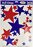 Star Clings (asstd red, white, blue) Party Accessory  (1 count) (36/Sh)