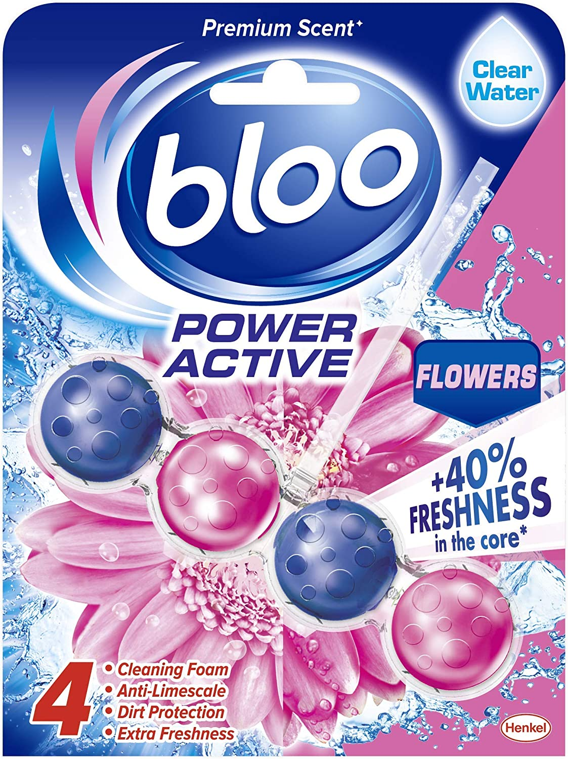 Bloo Power Active Toilet Rim Block Fresh Flowers with Anti-Limescale