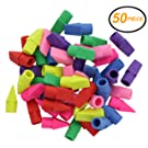 Emraw 6 Assorted Color Cap Fun Mini Eraser Top for Pencils - Use in School, Home & Office (50 Pack)