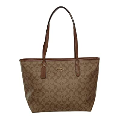 a0072207bd Amazon.com  Coach Signature City Zip Tote IM Khaki Saddle 2  Shoes