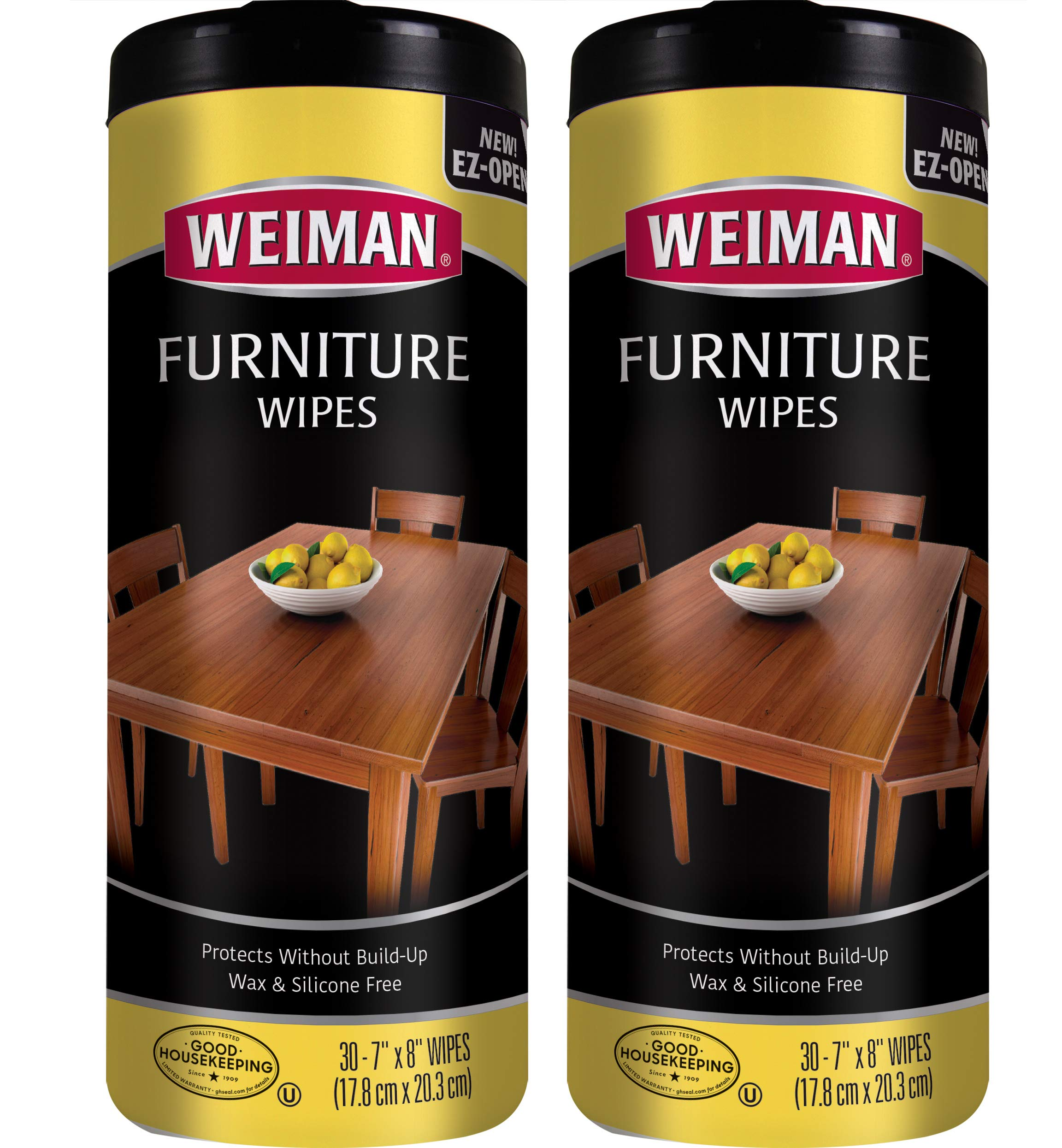 Weiman Wood Cleaner and Polish Wipes - 2 Pack - Non-Toxic for Furniture to Beautify and Protect, No Build-Up, Contains Ultra Violet Protection, Pleasant Scent, Surface Safe - 30 Count by Weiman