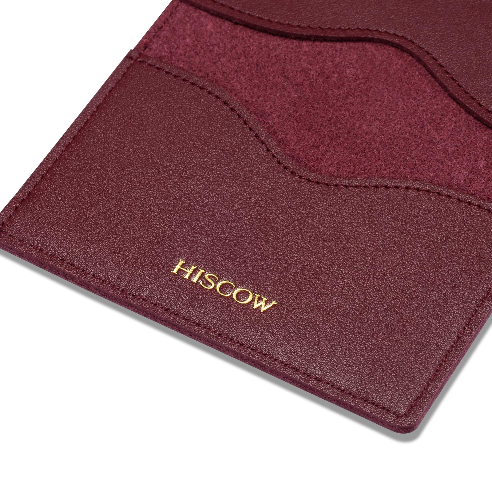 HISCOW Minimalist Thin Bifold Card Holder - Italian Calfskin (Bordeaux) by HISCOW (Image #5)