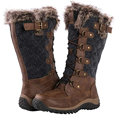 GLOBALWIN Women's Mid-Calf Fleece Lined Winter Boots | Snow Boots
