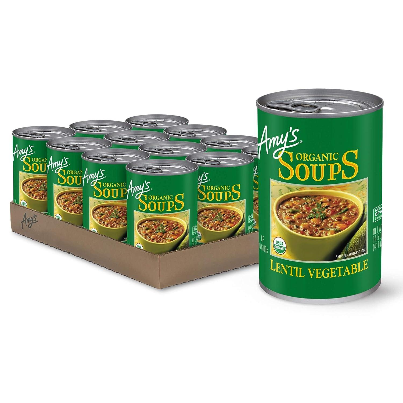 Amy's Soup, Vegan, Gluten Free, Organic Lentil Vegetable, 14.5 Ounce (Pack of 12)