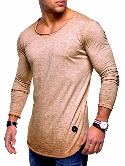 10f537ac Image Unavailable. Image not available for. Color: Behype Men's Slim Fit O-Neck  Long Sleeve Muscle Tee T-Shirt Casual Tops